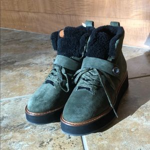 NEW Coach G1354 Green Boots- Genuine Leather/suede
